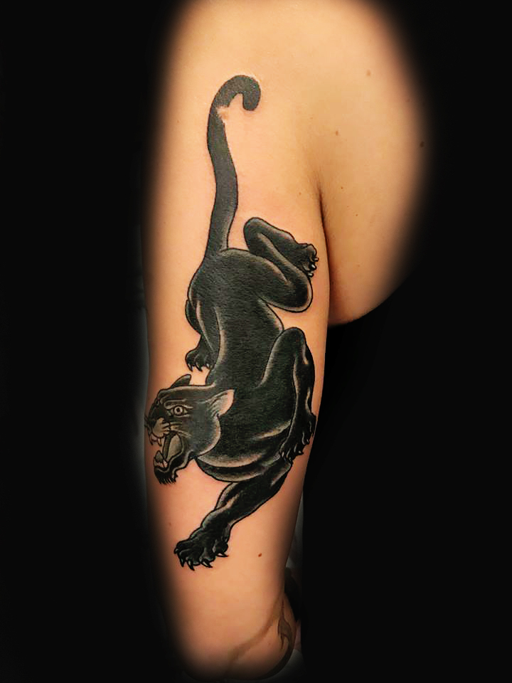 Black Panter Ivan Herrera Traditional Tattoo Berlin