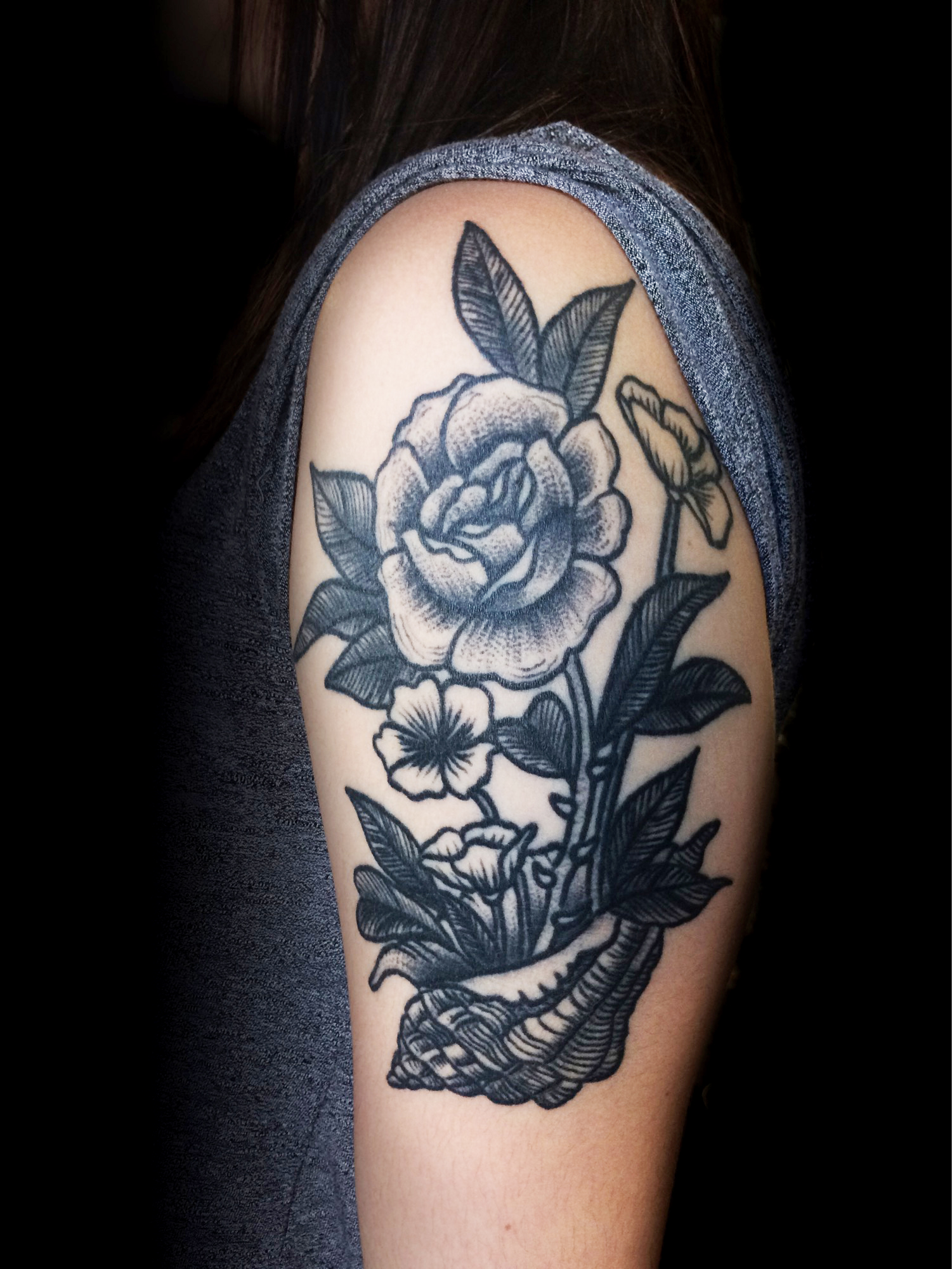 Rose flower in Shell Ivan Herrera Traditional Tattoo Berlin