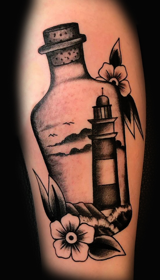 Lighthouse in Bottle Blackwork Ivan Herrera Traditional Tattoo Berlin