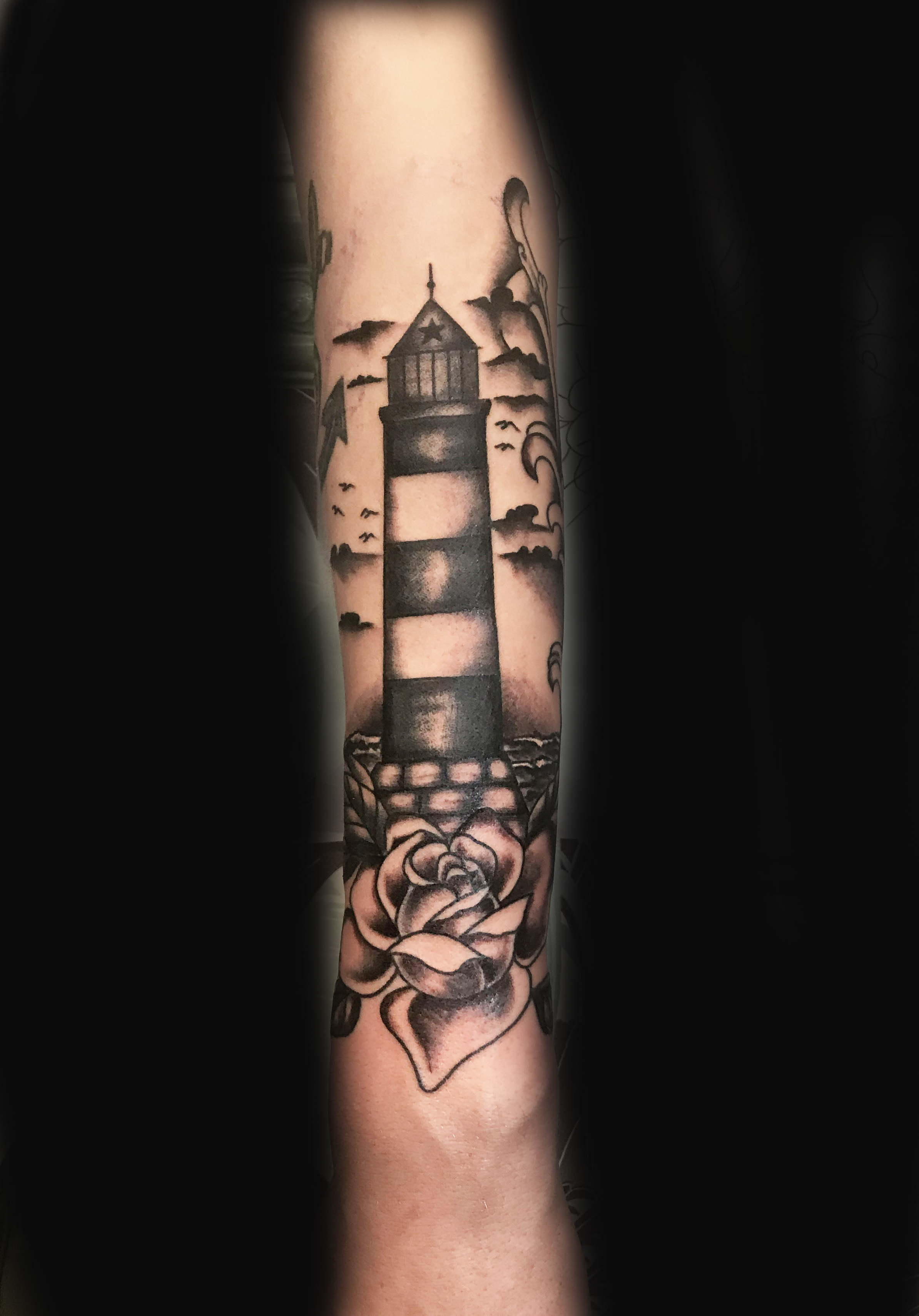 Lighthouse Blackwork Ivan Herrera Traditional Tattoo Berlin