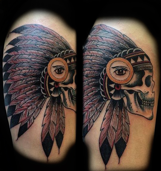 Indian Skull Ivan Herrera Traditional Tattoo Berlin