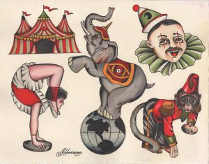 Classic Tattoo Flash Circus Ivan Herrera Tat2