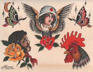 Classic Tattoo Flash Eagle Nurse Ivan Herrera Tat2