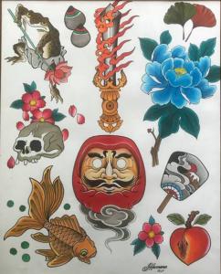 Classic Tattoo FlasJapanese h Daruma Frog Ivan Herrera Tat2